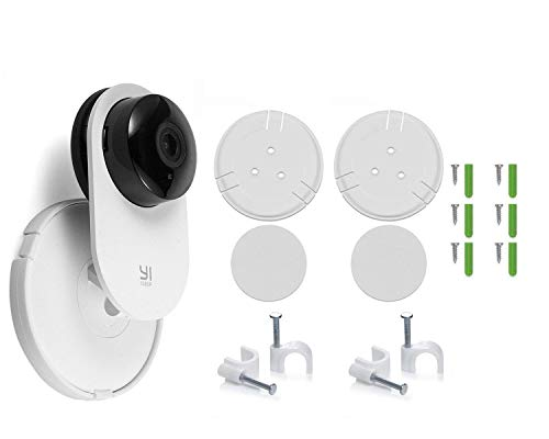 Fstop Labs 2 Pack Yi Home Camera Wall Mount Stand Bracket for Yi Home Security Camera 360 Degree Swivel, Full Install kit with Wire Clips (2 Pack)
