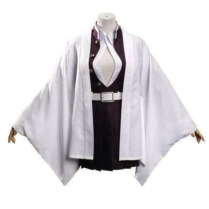 LJYNB Demon Slayer: Kimetsu no Yaiba mujer Kanroji Mitsuri disfraz mujer Kanroji Mitsuri vestido capa y medias XL conjuntos completos