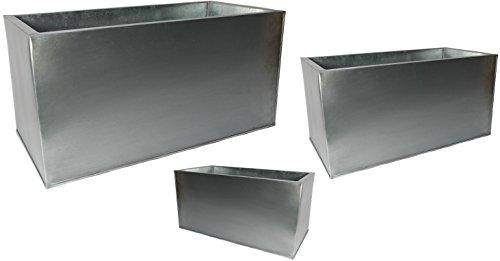 Mandelu Pflanztrog 3 er Set Silber Metall Blumenkübel Pflanzkübel Blumentrog Zink