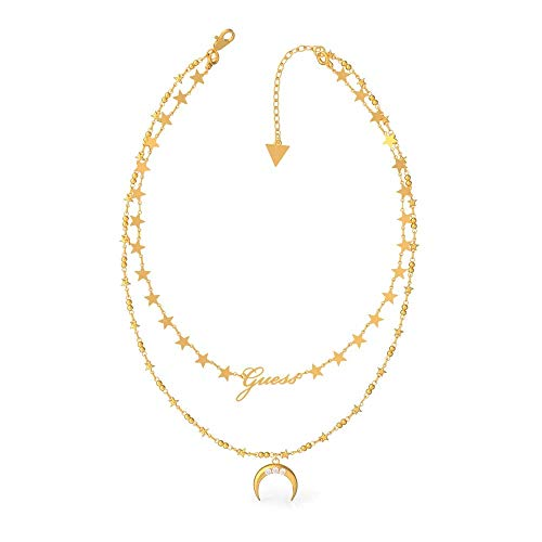 Guess Damen-Kette Double Chain Moon Edelstahl One Size Gold 32011722