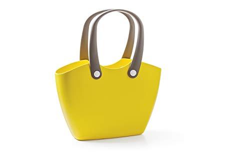 GF Garden FOR The Living Bag Bolso de plástico, de hombro, shopper, con asas ergonómicas, colorido, Amarillo