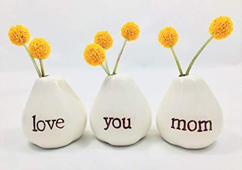 Gift for Mom...LOVE YOU MOM Bud Vases for Birthday Gift, Christmas...