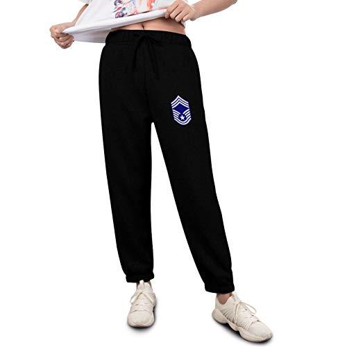 Erdededou USAF Chief Master Logo Women Relaxed-Fit Jogging Pants Super Soft Black
