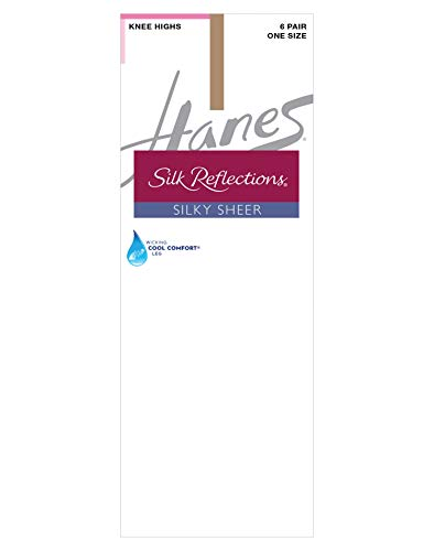 Hanes Silk Reflections Women s Knee High (Pack of 6), Barely There, One Size