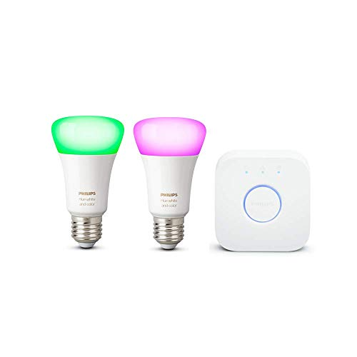 Philips Hue White & Color Ambiance E27 2-er Starter Set Bluetooth, 9 W, dimmbar, 16 Mio. Farben, steuerbar via App, kompatibel mit Amazon Alexa