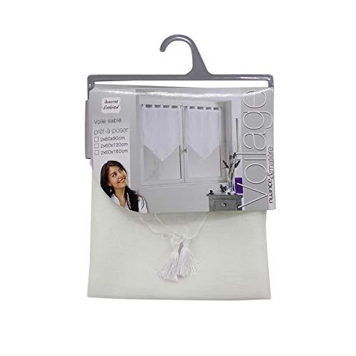 douceur d'intérieur 1622763 Paire Pompon Voile Sable Lissea Polyester Blanc 120 x 45 x 120 cm