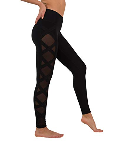90 Degree By Reflex Women's High Fashion Criss Cross Workout Leggings with Sheer Mesh Panels