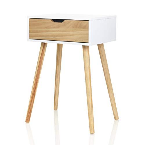 Mobilfreude Doluna - Comodino Tjark con cassetto in legno di pino e quattro piedini di supporto, 40 x 30 x 60 cm