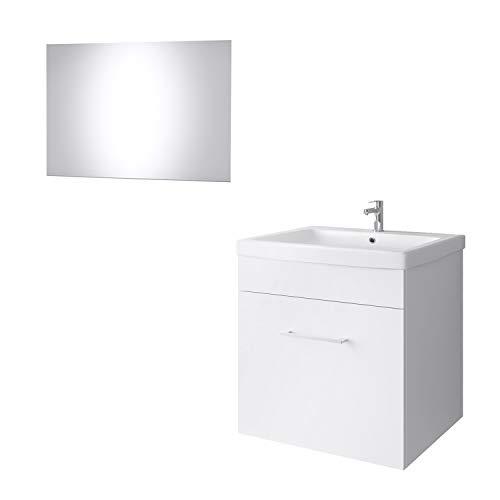 Tvättbord + spegel badrumsmöbler set 60 cm för badrum WC Weiß