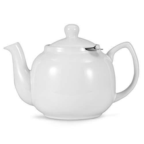 Urban Lifestyle Teekanne/Teapot Klassisch Englische Form aus Keramik Oxford 1,2L mit Teefilter aus Edelstahl (Weiß)