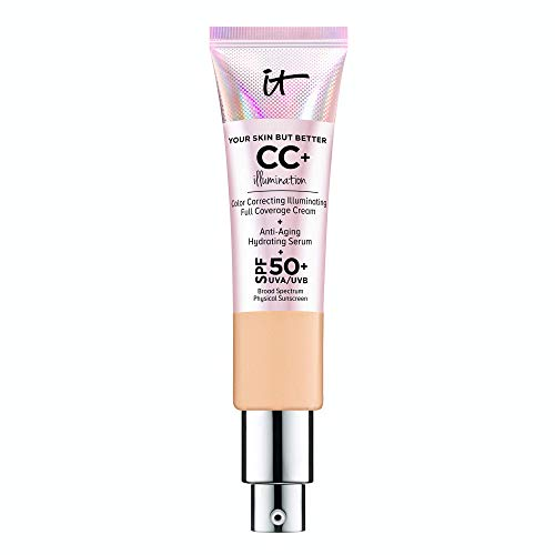 IT Cosmetics Your Skin But Better CC+ Cream Illumination, Medium (W) - Color Correcting Cream, Full-Coverage Foundation, Anti-Aging Serum & SPF 50+ Sunscreen - Radiant Finish - 1.08 fl oz