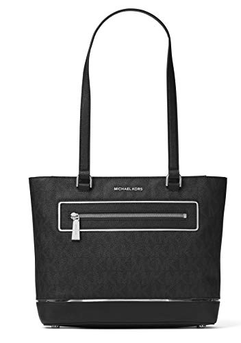 """Black MK signature PVC w/ silver gilded trim details. Top zip closure. Logo printed polyester lining. Exterior one zip pocket and one slip pocket with magnetic snap closure Interior one zipper pocket, four slip pockets and one dog clip. 13""""(L) x 9.8""""..."""