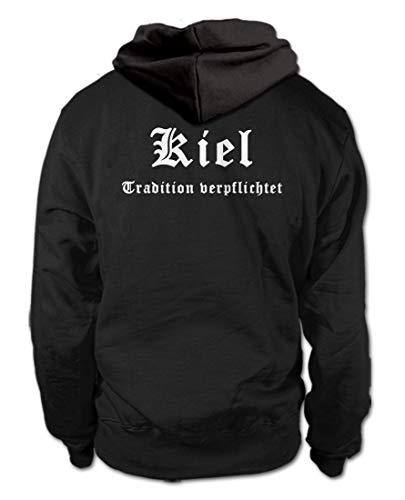 shirtloge - Kiel - Tradition verpflichtet - Fussball Fan Kapuzenpullover Hoodie - Größe L