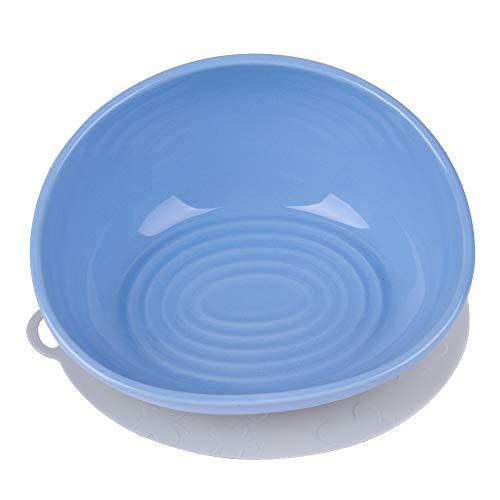CATPRO Ceramics Single Food Feeding Bowl for Flat Face Dogs/Cats, Non-Slip Anti-Spill French Bulldog Bowl Blue