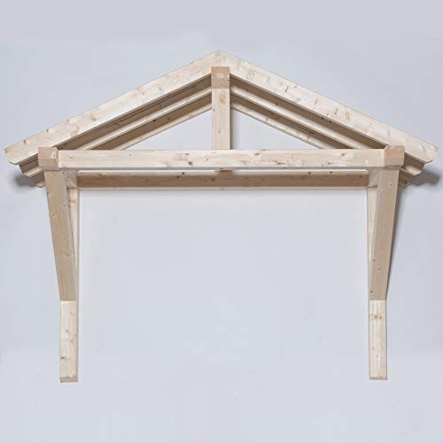 TUGA - Holztech Leimholz Balken 100x100mm Satteldach Haustürvordach Tür Haustür Überdachung Vordach Holz (180cm Breite zwischen Träger x 100 Tiefe)