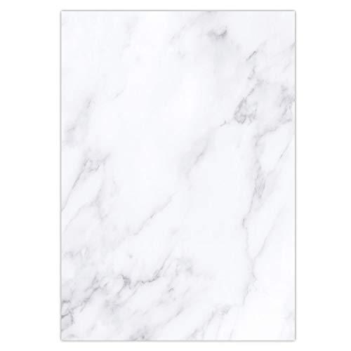 Marmor-Papier Set I einseitig I 50 Blatt in DIN A4 I Briefpapier Motiv-Papier für Urkunden Einladung Geburtstag Speisekarten I dv_433