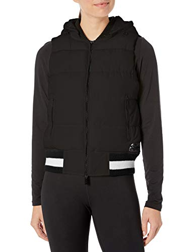Calvin Klein Women's Quilt Vest with Sweater Rib Trim and Detachable Hood, Black, Small
