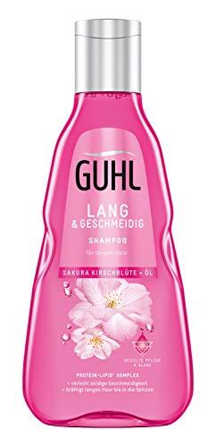 Guhl Lang und Geschmeidig Shampoo - mit Sakura-Kirschblüte und Öl - kräftigt langes Haar vom Ansatz an, 250 ml