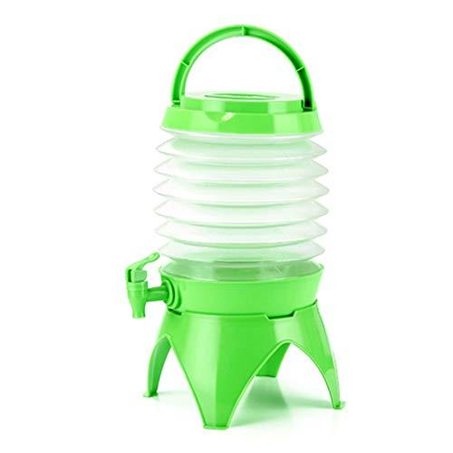 Cubo de almacenamiento telescópico plegable para acampar al aire libre multifuncional para beber coche barril de cerveza portátil (color verde)