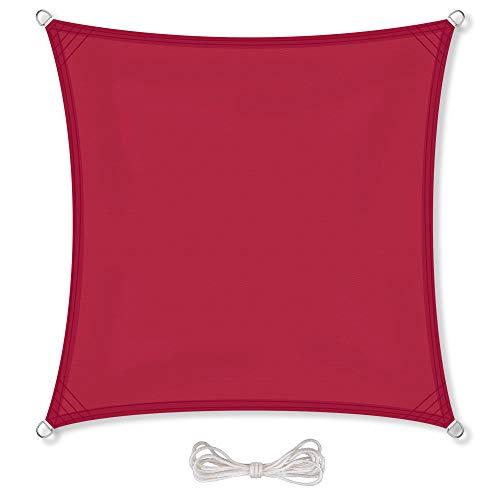 CelinaSun Sonnensegel inkl Befestigungsseile PES Polyester wasserabweisend imprägniert Quadrat 3,6 x 3,6 m rot