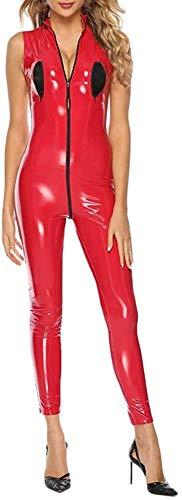GWQDJ Dessous Damen Sexy Pu Kunstleder Catsuit Teddy Clubwear Metallic Zip Front Jumpsuit Bodysuit Wet Look Trikot,Red-Large