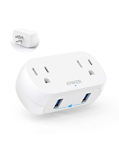 Anker AC Outlet and USB Wall Plug, PowerExtend USB Plug 2 Mini Wall Charger with 2 outlets, 2 USB Ports and PowerIQ Technology
