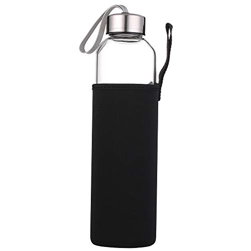 sunkey Glass Water Bottle 32oz 27oz 20 Oz with Neoprene Sleeve Stainless Steel Lid Portable for Home Office Gym Travel (32oz)