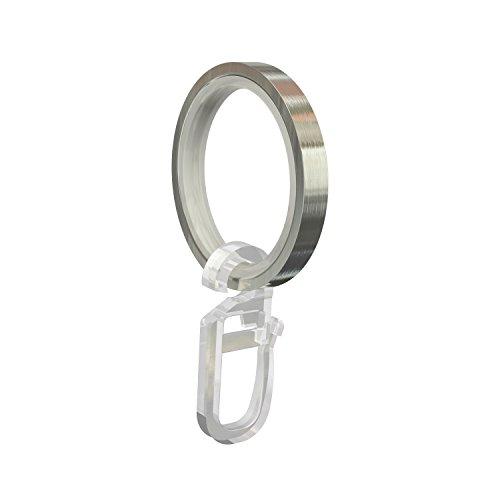Flairdeco Gardinenringe/Ringe mit Gleiteinlage/Faltenhaken, Metall, Edelstahl-Optik, 33/24 mm, 10 Stück