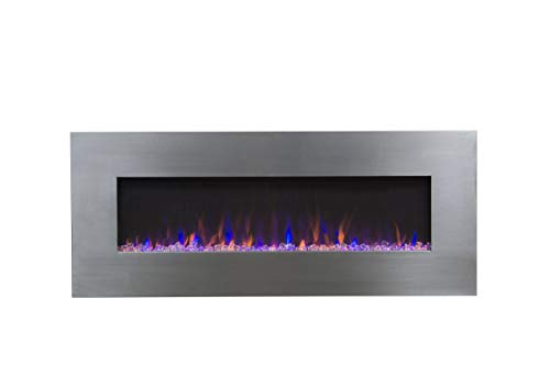 """Touchstone 80024 50"""" Stainless, Electric Fireplace with Bluetooth Speaker – AudioFlare 80024 AudioFlare Bluetooth electric Fireplace recessed"""