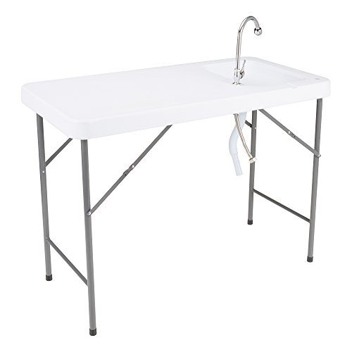 Norwood Commercial Furniture Folding Portable Fish Fillet/Hunting/Cutting Gardening Table with Sink and Faucet, 46' W x 24' D x 34' H, NOR-WOB2446-SO