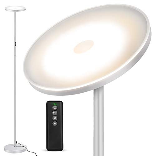 Lámpara de Pie OUTON, 30 W/2400 lm, Moderna Lámpara de Pie LED, regulable sin niveles, con 3 Temperaturas de Color, Control Remoto y táctil para Salón, Dormitorio, Oficina, Gris