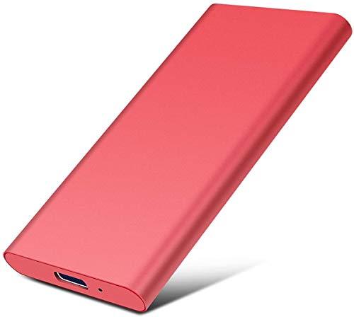 Disco duro externo portátil delgado disco duro externo de 2 TB Type-C/USB 2.0 compatible con PC, portátil y Mac (2TB, 1-Red)