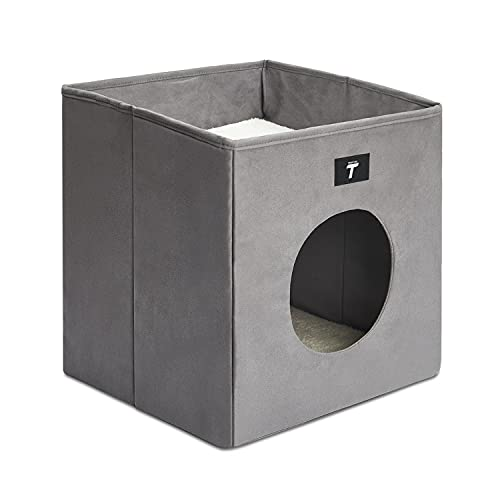 Tempcore Cat Bed for Indoor Cats, Foldable Cat Cube, Indoor Cat House with Lying Surface and 2 Reversible Cushions, Grey