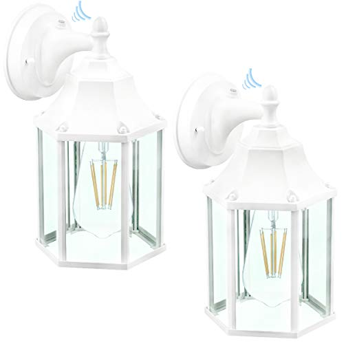 LED Dusk to Dawn Sensor Outdoor Wall Lantern ,Clear Glass Shade Wall Light Fixtures, Classic Outdoor Wall Sconces Front Door House Patio Garden Yard Garage,White,2Pack 9149-C