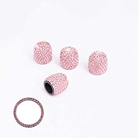 MIYATO 4Pcs Crystal Rhinestone Universal Tire Valve Dust Caps Bling Car Accessories with 1Pcs Auto Engine Start Stop Decoration Crystal Interior Ring,Give her The Best Gift Pink