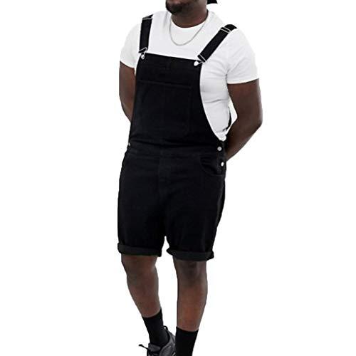 WGNNAA Herren Latzhose Overall Shorts Denim Jumpsuit Gewaschen Overall Multi-Pocket Jeans Overall Streetwear Latzhose Overall Shorts Schwarz Kurze Latzhose Latz Shorts Größe 36-46