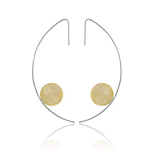 ♥ Regalo para Navidad♥ JIANGYUYAN Pendientes colgantes de plata esterlina S925 Pendientes colgantes de estilo minimalista moderno para niñas y mujeres