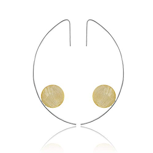 Regalo para Navidad JIANGYUYAN Pendientes colgantes de plata esterlina S925 Pendientes colgantes de estilo minimalista moderno para niñas y mujeres