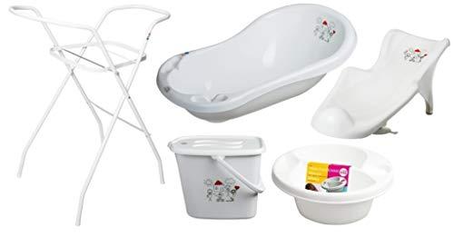 5er Set Baby-Badewanne Set Babywanne 84 cm mit Stöpsel + Ständer + Badesitz Badewannensitz + Windeleimer + Waschschüssel weiss