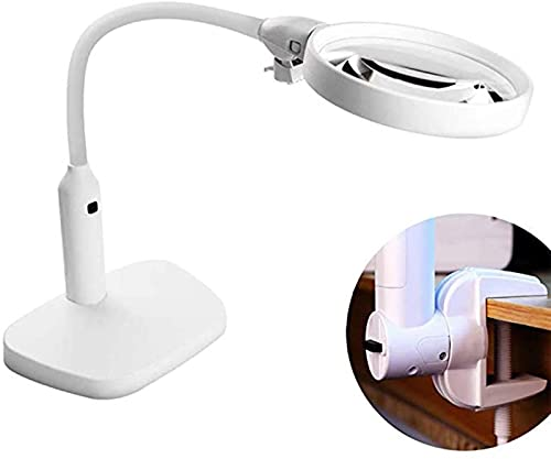 PFTHDE 6 Led Lupen-Klemmlampe, 2X, 5X Lupenlinse, Metallschlauch Verstellbarer Schwenkarm Utility-Klemmleuchte für Schreibtisch, Tisch, Handwerk, Schmuck, Nähen, Weiß