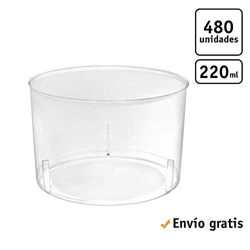 TELEVASO - 480 uds - Vaso Vino Chikito 220 ml - Plástico cristalino (PS) - Color Transparente - Ideal para Vino, Cerveza, Aperitivos, gazpacho, cremas, postres