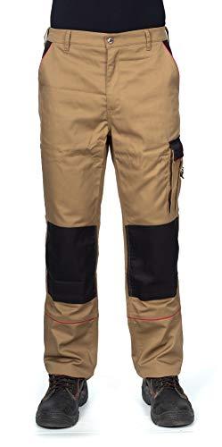 DINOZAVR Pantalones de Trabajo Estilo Cargo para Hombre - Resistentes, con Bolsillos multifuncionales y Rodilleras y Franjas Reflectantes - Caqui - EU58