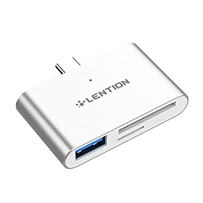 LENTION USB C to USB 3.0 + SD/Micro SD Card Readers Compatible MacBook Pro (Thunderbolt 3), 2018 New iPad Pro & Mac Air, MacBook 12, Chromebook, Surface Book 2/Go, More Type C Devices (Silver)