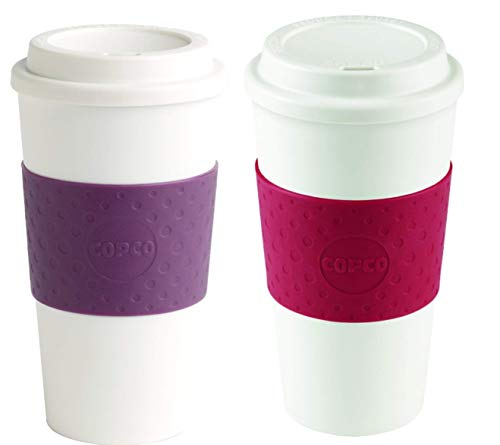 Copco Acadia Double Wall Insulated 16 oz Travel To Go Mug with Non-Slip Sleeve, Set of 2, Commuter Friendly, Drink On the Go (Plum/Cherry Red)
