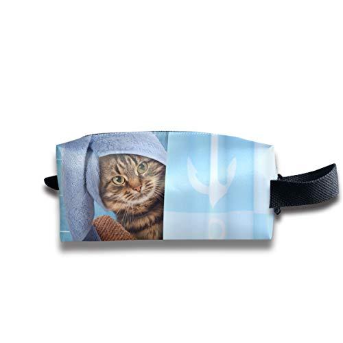 Lustige Katze, die einen Bad-Reise-Make-upkosmetik-Kasten, tragbaren Bürsten-Kasten-Kulturbeutel-Reise-Ausrüstungs-Organisator-Kosmetiktasche nimmt