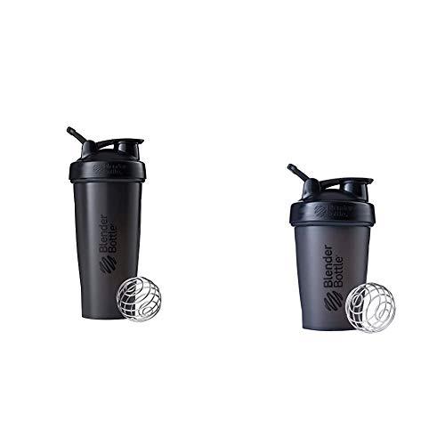 BlenderBottle Shaker Bottle, 28-Ounce, Black & Classic Loop Top Shaker Bottle, 20oz, Black