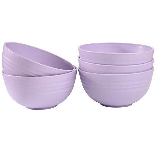 5 cuencos de cereales ligeros para niños, aptos para alimentos, 12 cm, irrompibles, para lavavajillas, microondas (morado)
