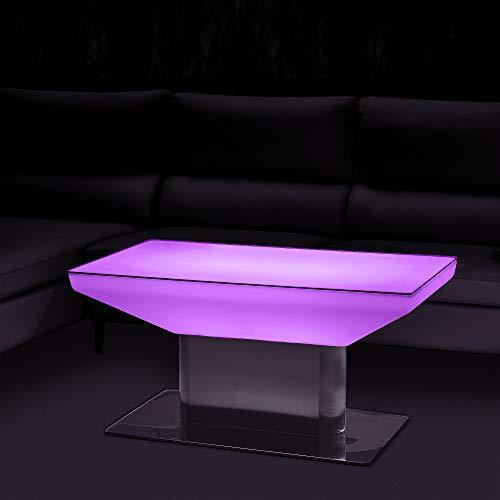 EVERGLOW DESIGN RGB-W LED-Tisch, beleuchteter Tisch ideal als Leuchttisch für das Wohnzimmer, Couchtisch, Shisha Bar oder die Terrasse,16 Farben, bis zu 18 Std Leuchtdauer, Innen- & Außenbereich