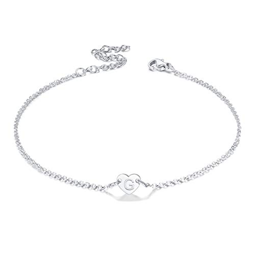 FaithHeart Initial Alphabet Letter Anklet for Women Pretty Thin Ankle Bracelet Tiny Heart Charm Accessories Sister Gift