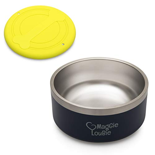 MagGie LouBie Large Stainless Steel NonSlip Bowl for Food or Water Complete with Silicone FlyerNavy Blue